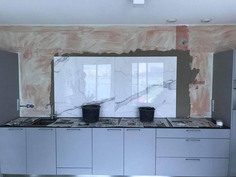 Keukenwand marmer